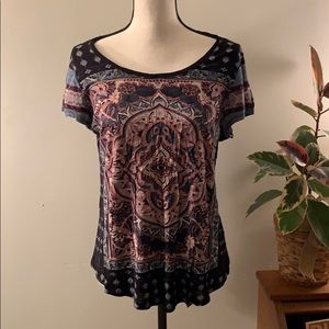 Lucky Brand Patterned Shirt Sleeve Tee Shirt Large
